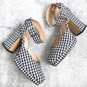 Zara Gingham Platform Square Toe Heels